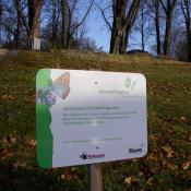 Informationstafel des BUND über das Schmetterlingswiesenprojekt © A. Hindersin